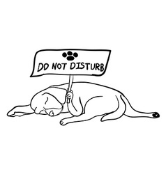 Sleeping dog holding do not disturb board vector