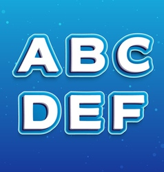 3D Font in Cartoon style with letters from A to F vector image vector image