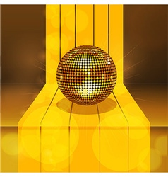 Golden disco ball on 3d gold step vector