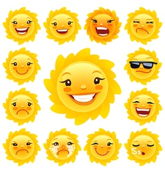 Cartoon sun character emoticons set vector