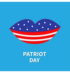 Lips with star and strip patriot day flat design vector