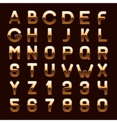 Golden metallic shiny abc letters and numbers vector