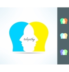 Telepathy people idea telepath person head icon vector