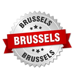 Brussels round silver badge with red ribbon vector image vector image
