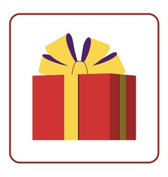 Colorful wrapped gift box icon red vector image vector image