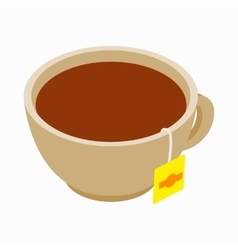 Cup with tea bag icon isometric 3d style vector image vector image