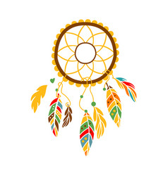 Decorative dream catcher with feathers native vector