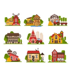 farm buildings set agriculture industry and vector image