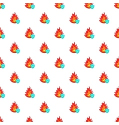 Fire and sky blue shield pattern cartoon style vector