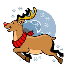 Flying rudolph red nosed vector