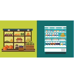 fruit vegetables milk products meat bakery vector image vector image