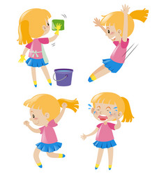 girl doing four different activities vector image vector image