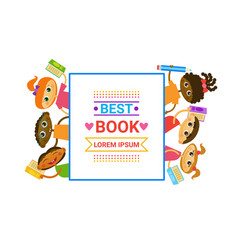 Group of kids with books reading cute children vector