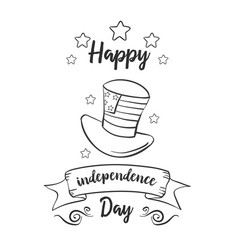 Happy independence day card hand draw style vector