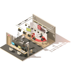 isometric low poly television studio vector image vector image