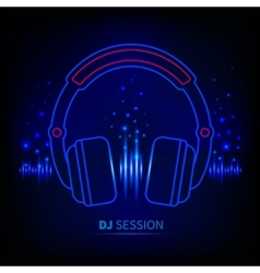Light neon headphones vector