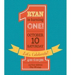 One year birthday invitation vector