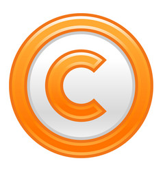 Orange copyright symbol sign matte icon vector