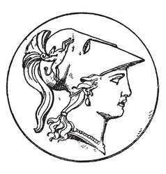 Right minerva head vintage vector