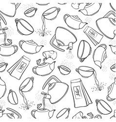 seamless black and white pattern sketch vector image