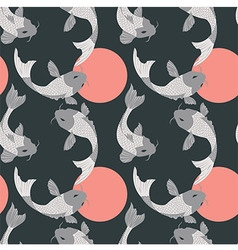 Seamless pattern with carp koi fish and sun vector