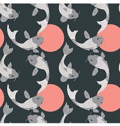 Seamless pattern with carp koi fish and sun vector image