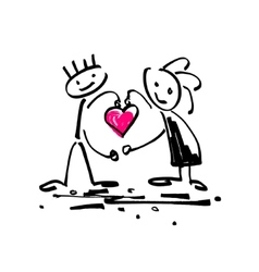 sketch doodle human stick figure couple in love vector image vector image