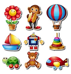 Sticker set with many toys vector image vector image