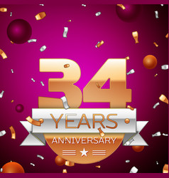 Thirty four years anniversary celebration design vector