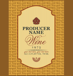 Wine labels in a frame on the basket vector