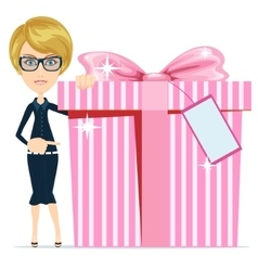 Woman holding a big box gifts vector