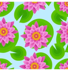 Background seamless pattern with pink lotus vector