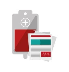 Blood bag and medical history icon vector