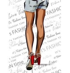 Woman legs with red shoes EPS vector image