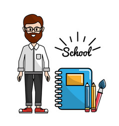 Teacher with rings notebook pencils and paint vector