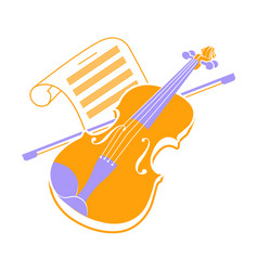 Violin icon and music books 2 vector