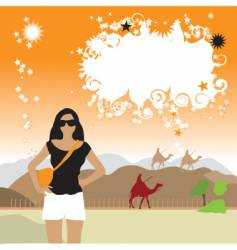 Girl on desert frame vector