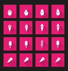 Ice cream icons long Shadow vector image