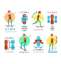 21 june international skateboarding day emblems vector image