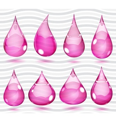 Transparent pink drops vector