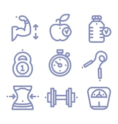 Set fitness sports gym icons vector