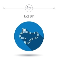 Race track or lap icon finish flag sign vector