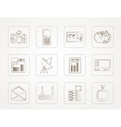 Communication and business icons vector