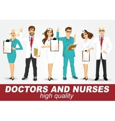 Group of doctors and nurses set vector