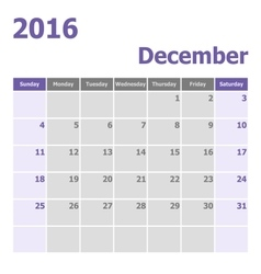 Calendar december 2016 week starts from sunday vector