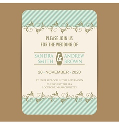 Wedding invitation with blue vector
