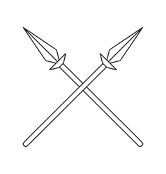 Two crossed spears thin line icon vector