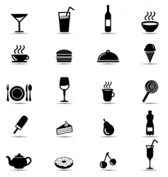 Black and white food icons vector
