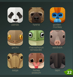 animal faces for app icons-set 22 vector image vector image