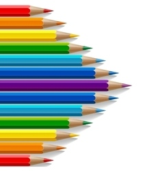 Arrow shape of rainbow colored pencils with vector